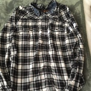 JACHS Girlfriend Black Plaid Button Down